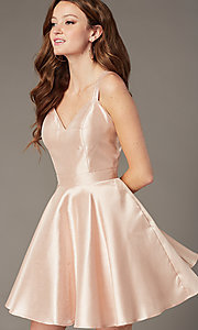 Image of JVNX by Jovani short semi-formal party satin dress. Style: JO-JVNX3214 Front Image
