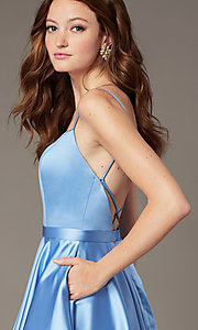 Image of square-neck short JVNX by Jovani homecoming dress. Style: JO-JVNX2274 Detail Image 6