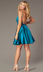 Image of square-neck short JVNX by Jovani homecoming dress. Style: JO-JVNX2274 Detail Image 1