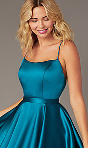 Image of square-neck short JVNX by Jovani homecoming dress. Style: JO-JVNX2274 Detail Image 2