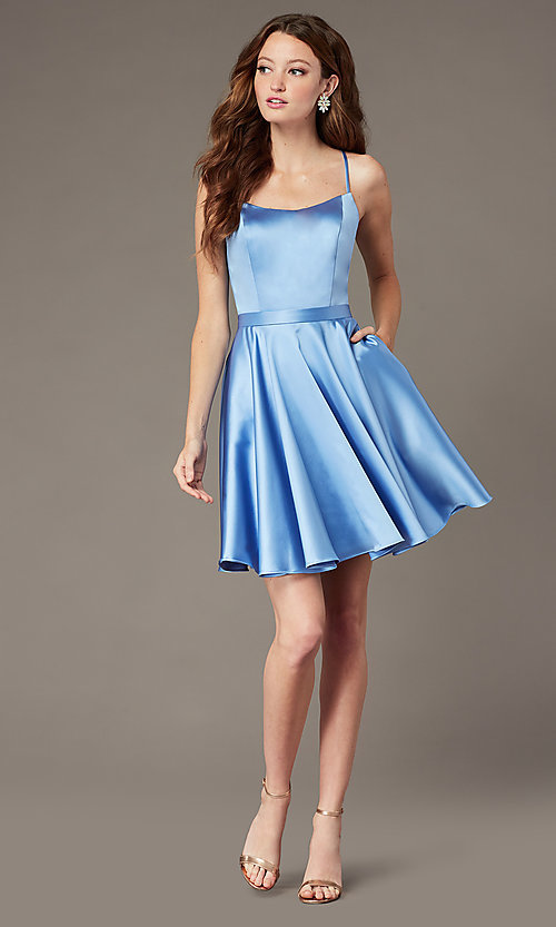 Image of square-neck short JVNX by Jovani homecoming dress. Style: JO-JVNX2274 Front Image