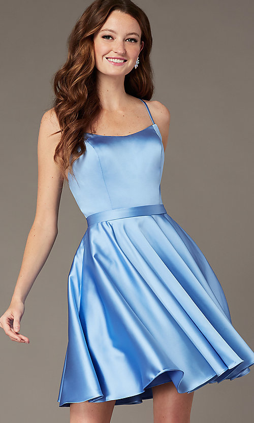 Image of square-neck short JVNX by Jovani homecoming dress. Style: JO-JVNX2274 Detail Image 5