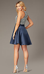 Image of JVNX by Jovani short homecoming navy party dress. Style: JO-JVNX00383 Back Image