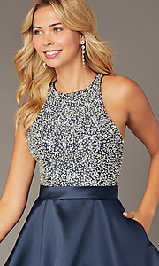 Image of JVNX by Jovani short homecoming navy party dress. Style: JO-JVNX00383 Detail Image 1