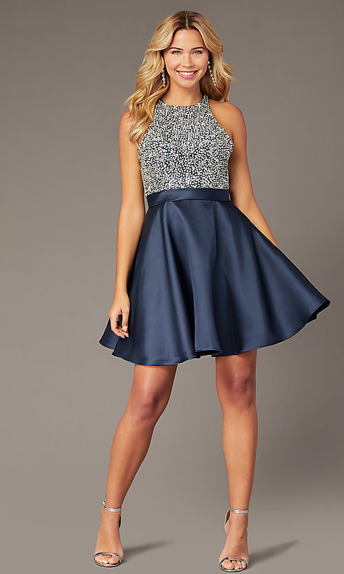 Image of JVNX by Jovani short homecoming navy party dress. Style: JO-JVNX00383 Front Image
