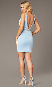 Image of light blue JVNX by Jovani short homecoming dress. Style: JO-JVNX2272 Back Image