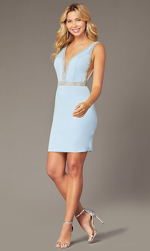 Image of light blue JVNX by Jovani short homecoming dress. Style: JO-JVNX2272 Front Image