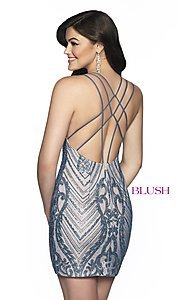 Image of short beaded homecoming dress with open back. Style: BL-B151 Back Image