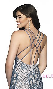 Image of short beaded homecoming dress with open back. Style: BL-B151 Detail Image 2