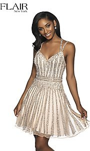 Image of short beaded homecoming dress with a-line skirt. Style: BL-FL-19333 Front Image