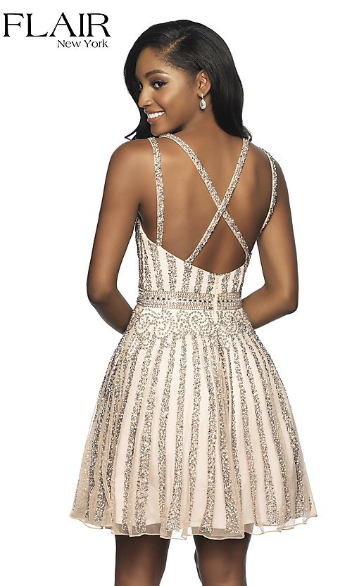 Image of short beaded homecoming dress with a-line skirt. Style: BL-FL-19333 Back Image