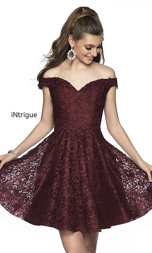 Image of fit-and-flare homecoming dress in embroidered lace. Style: BL-IN-648 Front Image