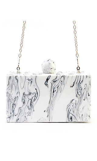 Marbled Valyn Clutch with a Shoulder Chain