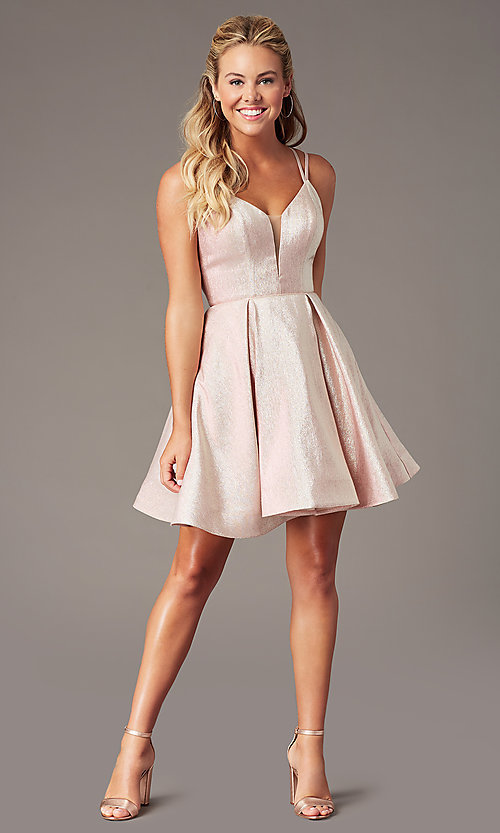 Image of v-neck short a-line glitter hoco dress by PromGirl. Style: TE-PL-4076 Detail Image 1