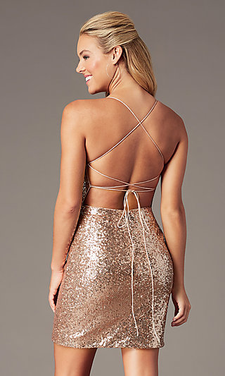 Short Rose Gold Sequin Homecoming Dress by PromGirl