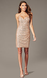 Image of short rose gold sequin hoco dress by PromGirl. Style: TE-PL-4086 Front Image