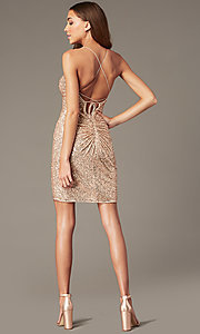 Image of short rose gold sequin hoco dress by PromGirl. Style: TE-PL-4086 Back Image