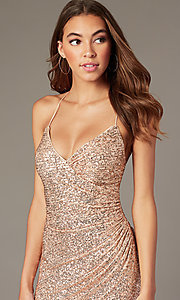 Image of short rose gold sequin hoco dress by PromGirl. Style: TE-PL-4086 Detail Image 1