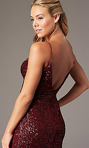 Image of short sequin homecoming wrap dress by PromGirl. Style: TE-PL-4089 Detail Image 4