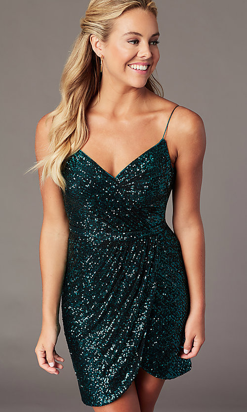 Image of short sequin homecoming wrap dress by PromGirl. Style: TE-PL-4089 Front Image