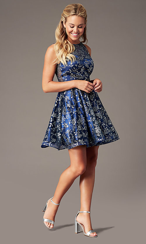 Image of short a-line glitter-mesh hoco dress by PromGirl. Style: TE-PL-4116 Detail Image 1