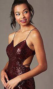 Image of short sequin holiday party dress with corset. Style: TE-4128 Detail Image 2