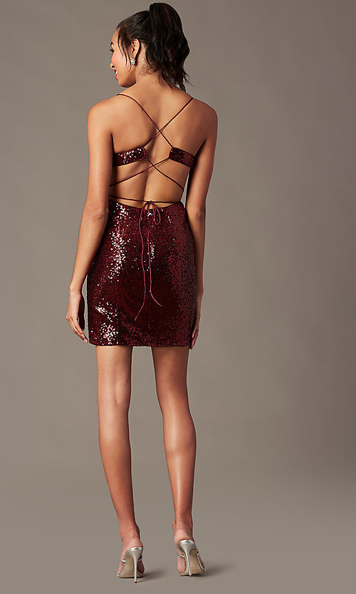 Image of short sequin holiday party dress with corset. Style: TE-4128 Detail Image 3