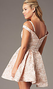 Image of jacquard-print short pink homecoming dress. Style: TE-4120 Back Image