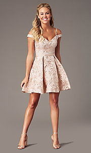 Image of jacquard-print short pink homecoming dress. Style: TE-4120 Detail Image 1