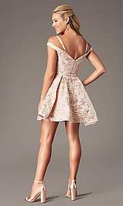 Image of jacquard-print short pink homecoming dress. Style: TE-4120 Detail Image 2