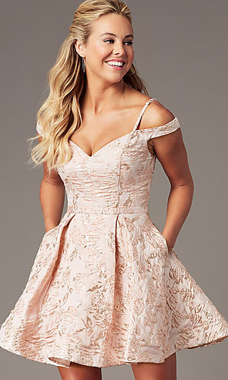 Jacquard-Print Short Pink Homecoming Dress
