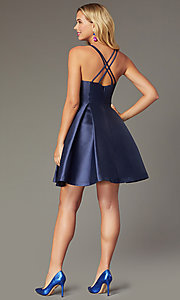Image of short satin a-line homecoming dress by PromGirl. Style: SJP-PL-AS114 Back Image