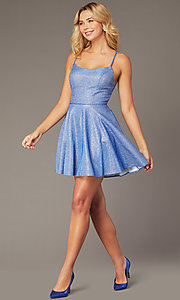 Image of short metallic waffle-knit homecoming dress. Style: DJ-A7979 Detail Image 1