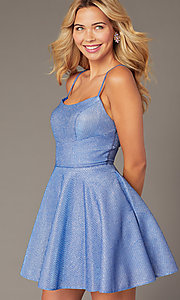 Image of short metallic waffle-knit homecoming dress. Style: DJ-A7979 Front Image