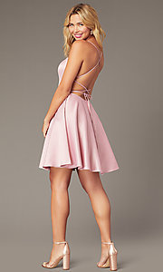 Image of backless short homecoming party dress with corset. Style: DJ-A8089 Back Image