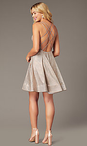 Image of short homecoming party dress in metallic rose gold. Style: DJ-A8224 Detail Image 1