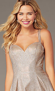Image of short homecoming party dress in metallic rose gold. Style: DJ-A8224 Detail Image 2
