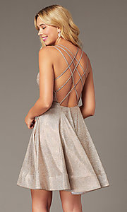 Image of short homecoming party dress in metallic rose gold. Style: DJ-A8224 Front Image