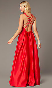 Image of long formal red satin prom dress with pockets. Style: DJ-A8284 Back Image
