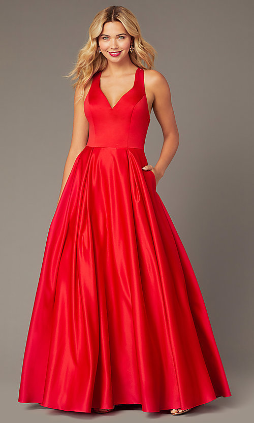 Image of long formal red satin prom dress with pockets. Style: DJ-A8284 Front Image