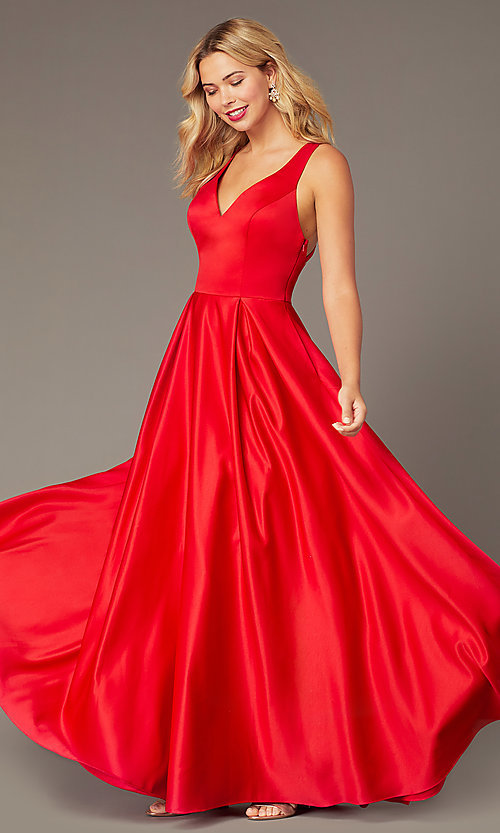 Image of long formal red satin prom dress with pockets. Style: DJ-A8284 Detail Image 2