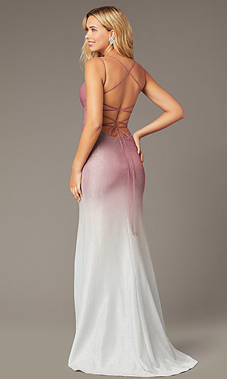 Long Empire-Waist Glitter Formal Dress in Rose Pink
