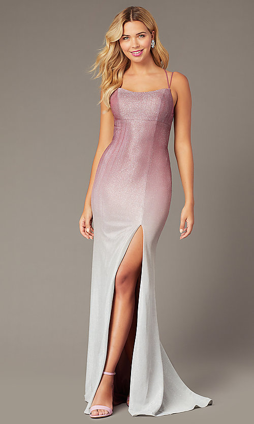 Image of long empire-waist glitter formal dress in rose pink. Style: DJ-A8358 Back Image