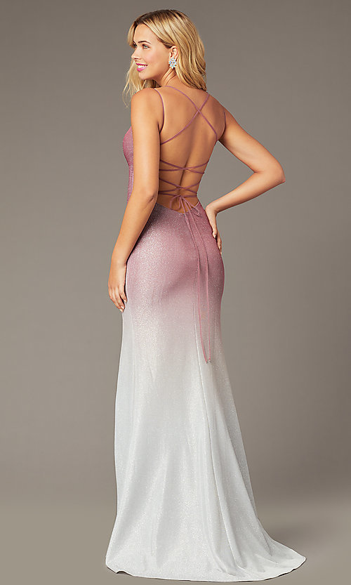Image of long empire-waist glitter formal dress in rose pink. Style: DJ-A8358 Front Image