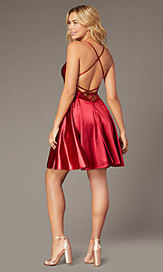 Image of burgundy short Dave and Johnny homecoming dress. Style: DJ-A8395 Back Image
