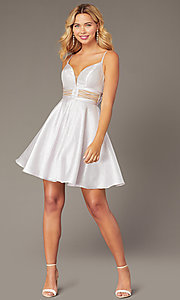 Image of metallic-knit short a-line homecoming dress. Style: DJ-A8454 Detail Image 1