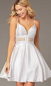 Image of metallic-knit short a-line homecoming dress. Style: DJ-A8454 Front Image