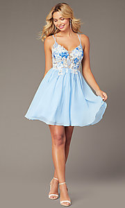 Image of short chiffon homecoming party dress in ice blue. Style: DJ-A8186 Front Image