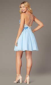 Image of short chiffon homecoming party dress in ice blue. Style: DJ-A8186 Back Image