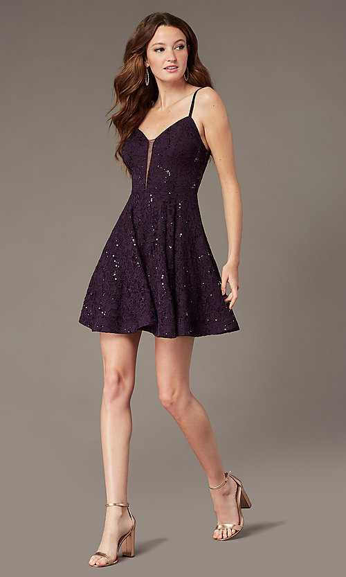 Image of grape purple lace homecoming dress with sequins. Style: SS-D73581HQA Detail Image 1